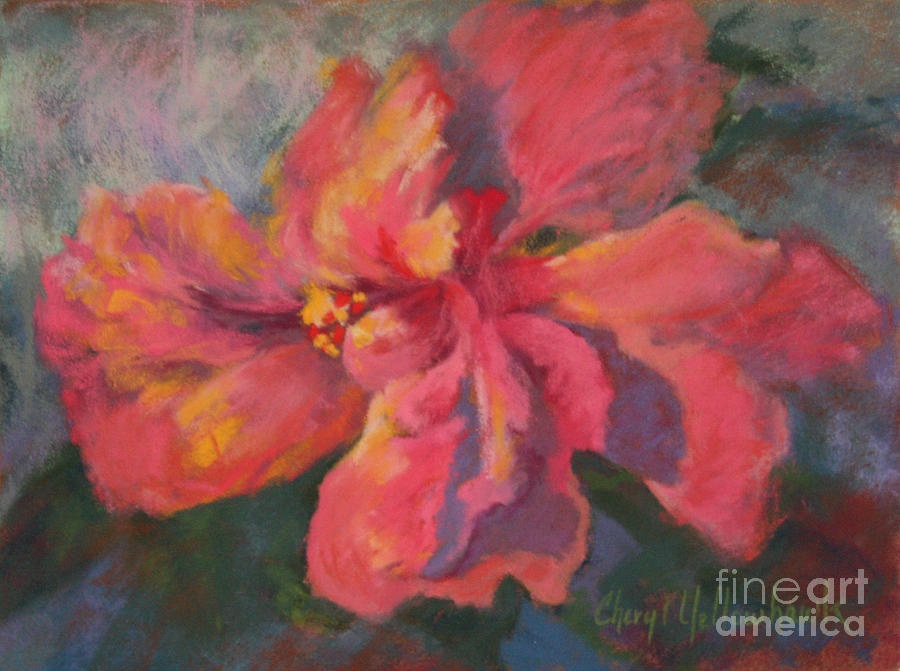 Sunset Pastel - Flaming Hibiscus by Cheryl Yellowhawk