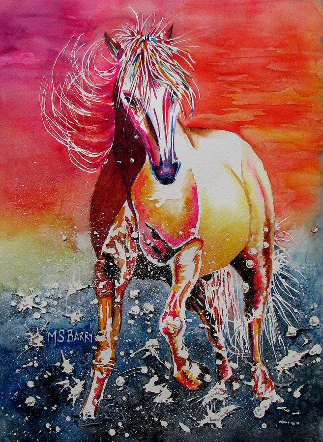 Horse Painting - Sunset Horse by Maria Barry