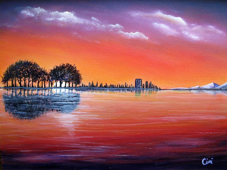 Sunset Painting - Sunset Illusion by Lisa Cini