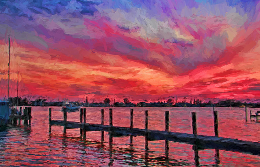Cortez Fishing Village Photograph - Sunset Impressionism by HH Photography of Florida