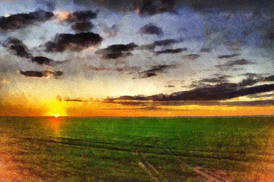 Sunset In Field Beautiful Summer Landscape Big Sky Watercolor