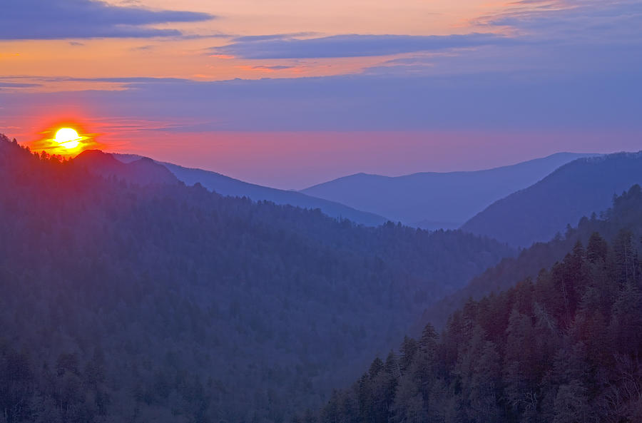 Sunset Photograph - Sunset In Great Smoky Mountain National Park Tennessee by Brendan Reals