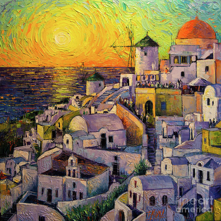 Sunset In Santorini Painting