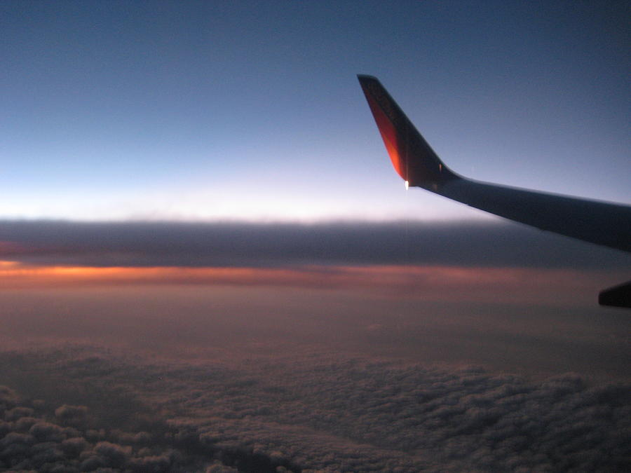 Plane Photograph - Sunset In The Air by Renee Antos