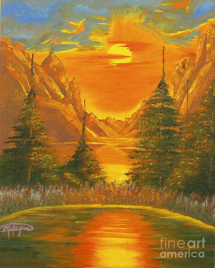 Landscape Painting - Sunset In The Canyon 1 by Milagros Palmieri