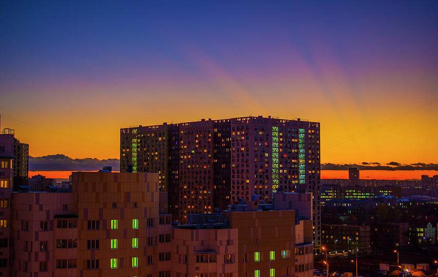 Sunset Photograph - Sunset in the city by Konstantin Bibikov