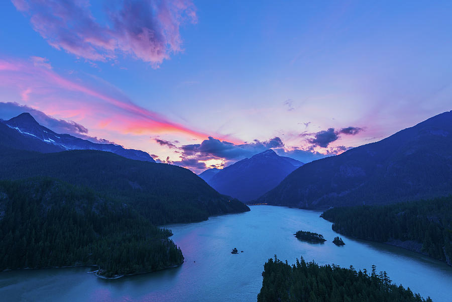 Sunset In The Diablo Lake, Wa Digital Art by Michael Lee
