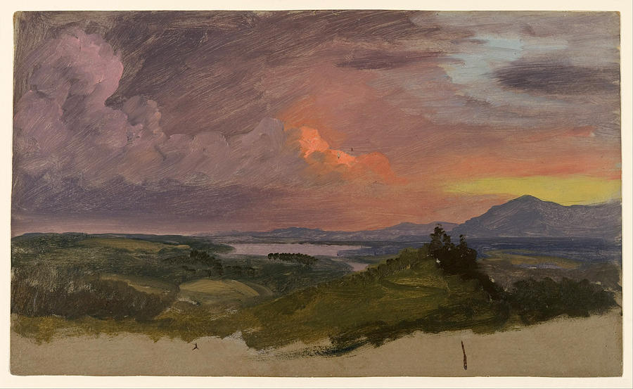 Frederic Edwin Church Painting - Sunset In The Hudson Valley  by Frederic Edwin Church