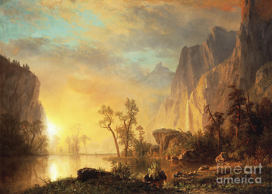 Sunset In The Rockies Painting By Albert Bierstadt