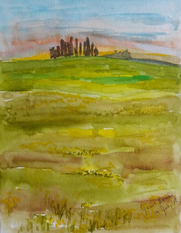Watercolors Painting - Sunset In Tuscany by Janet Butler