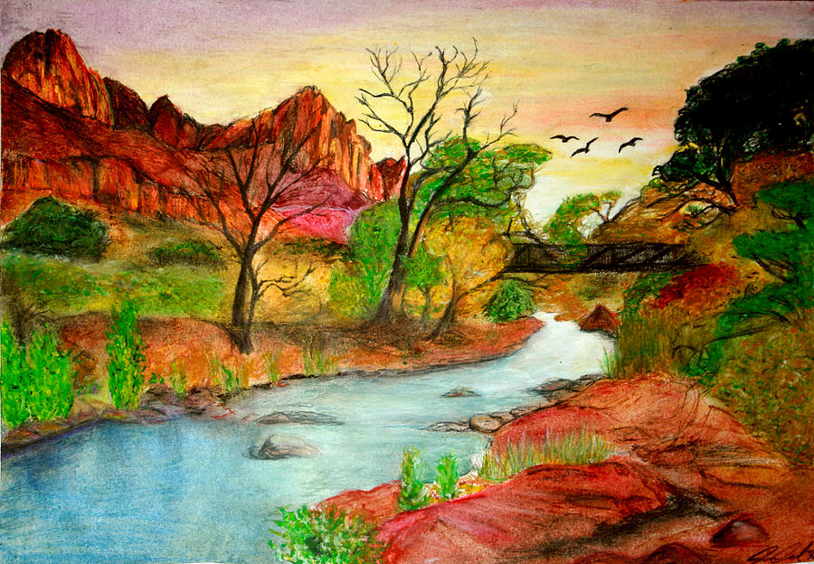 Zion Drawing - Sunset In Zion by Joanna Aud