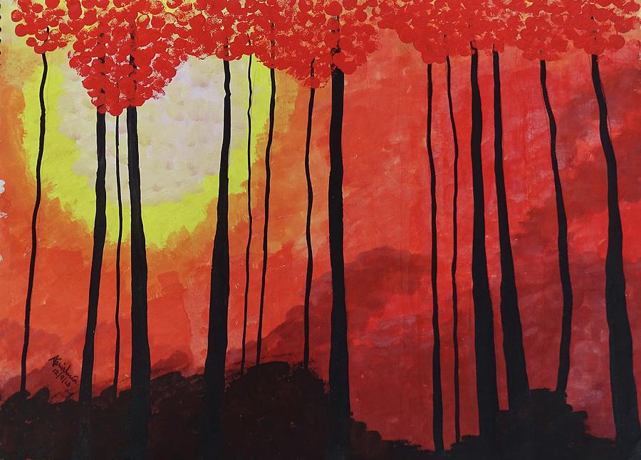 Forest Painting - Sunset Into The Forest by Karishma Agarwal