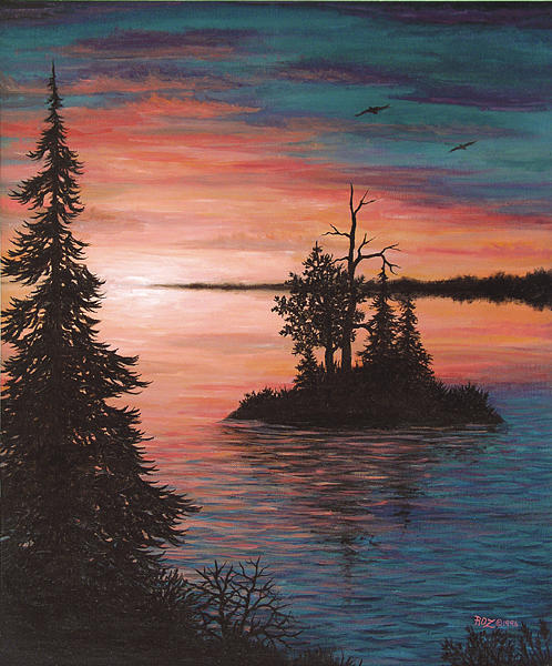 Sunset Painting - Sunset Island by Roz Eve