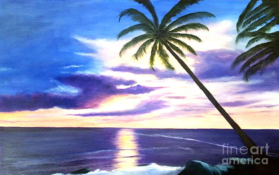 Palms Painting - Sunset by Jimi Giordano