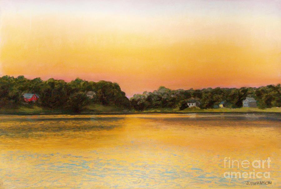 Pastel Pastel - Sunset Lake by Joan Swanson