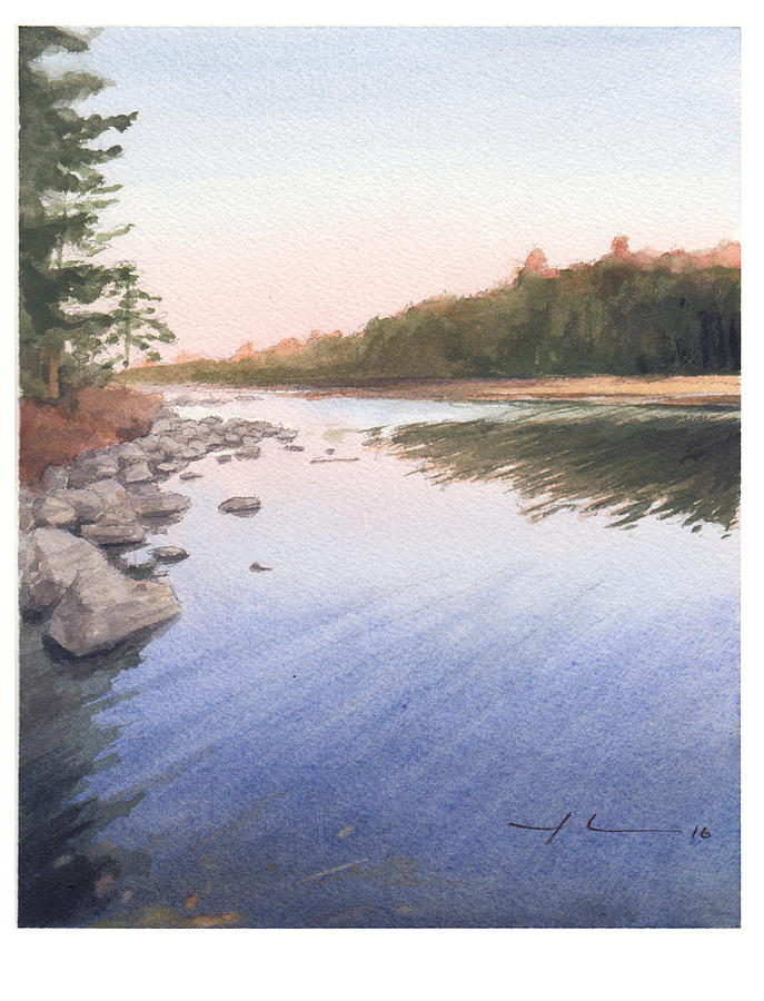 Sunset Lake Watercolor Painting Drawing by Mike Theuer