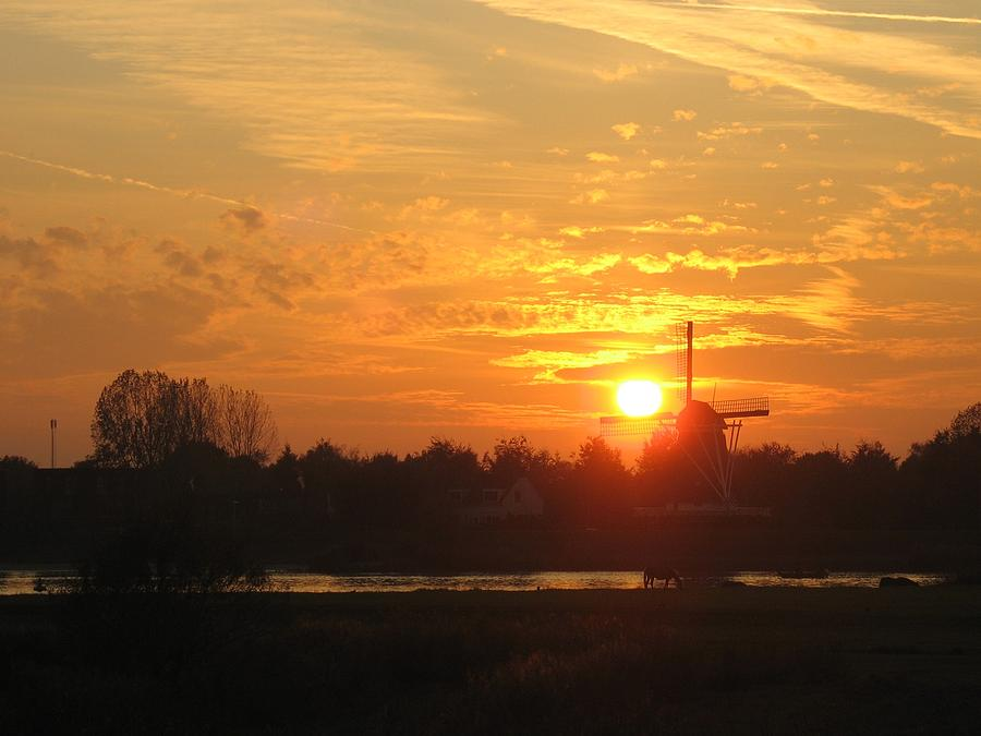 Holland Photograph - Sunset Landscape With Dutch Windmill by Holland Scenery
