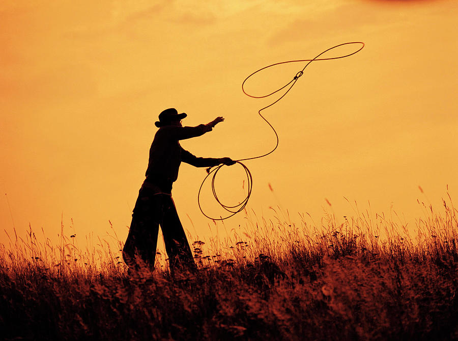 Old Cowboy Photograph - Sunset Lariat 4 by Ruth Eich