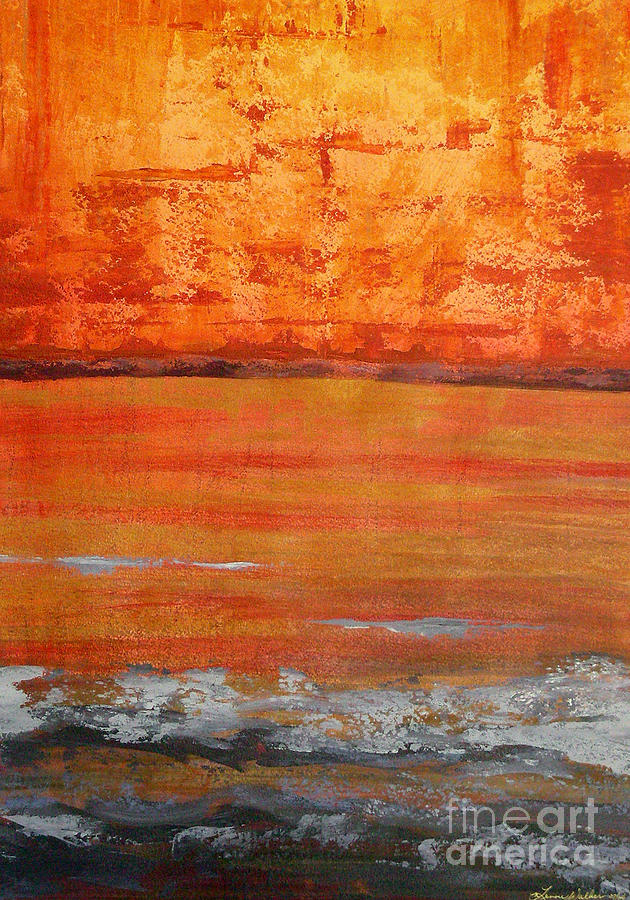 Abstract Landscape Painting - Sunset by Lenore Walker