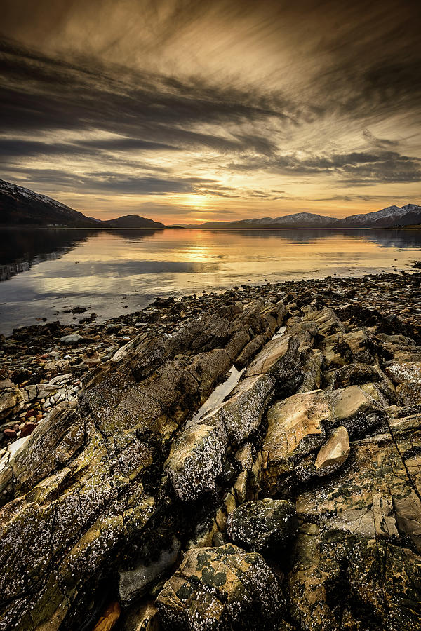 Caledonian Canal Photograph - Sunset, Loch Lochy by Peter OReilly