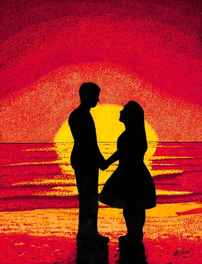 Sunset Love Drawing By Mk Flood