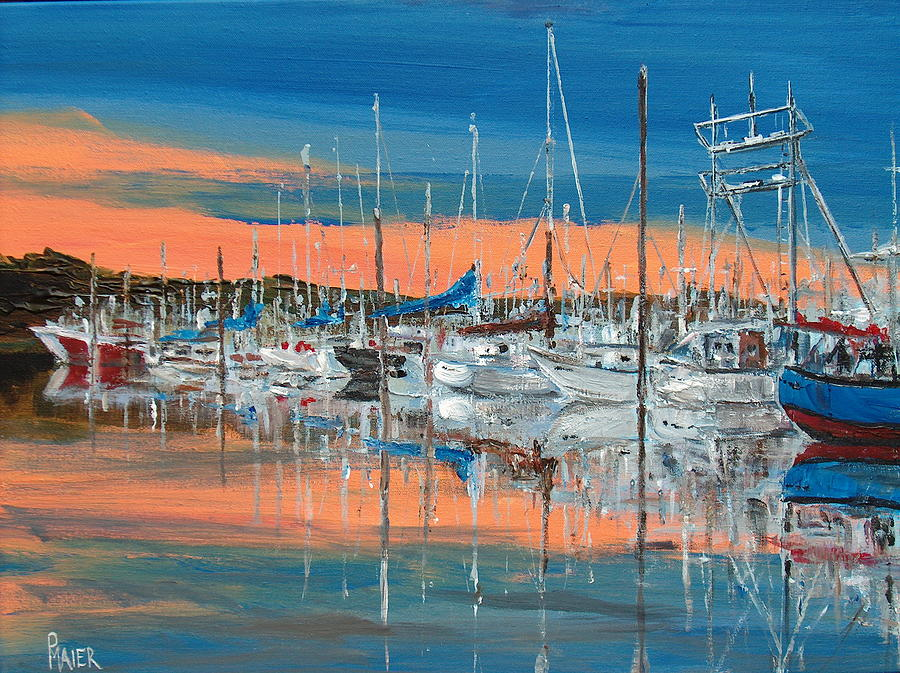 Marina Painting - Sunset Marina by Pete Maier