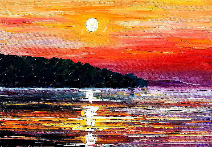 Sunset Melody Palette Knife Oil Painting On Canvas By