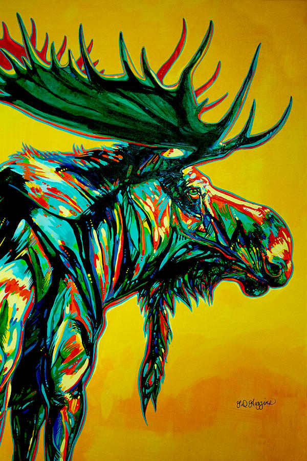 Moose Painting - Sunset Moose by Derrick Higgins