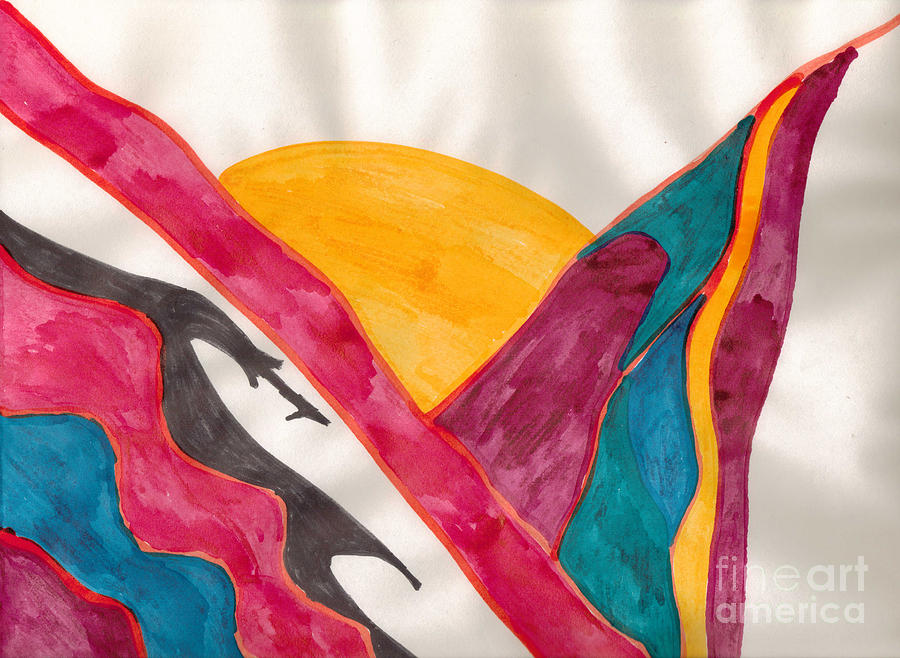 Abstract Mixed Media - Sunset Mountains by Mary Mikawoz
