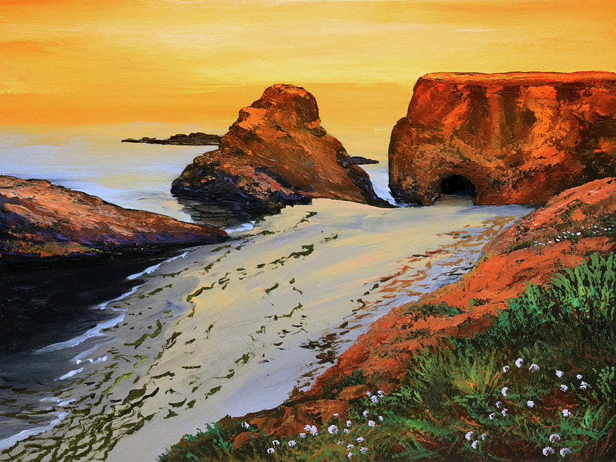 Sunset North Of Fort Bragg Ca Painting