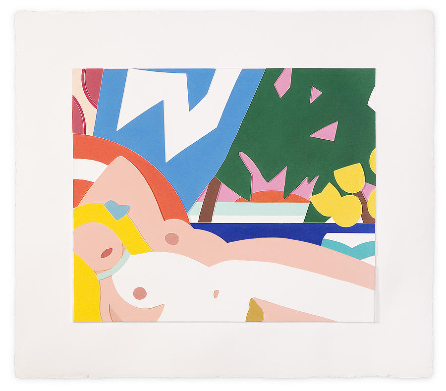 Sunset Nude With Yellow Tulips Print by Tom Wesselmann
