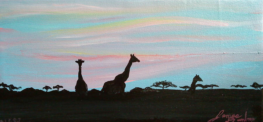 Blue Sun Painting - Sunset Of Africa by Portland Art Creations
