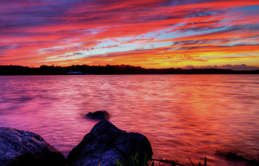 Guilford Lake Photograph - Sunset Of Fire by David Dufresne
