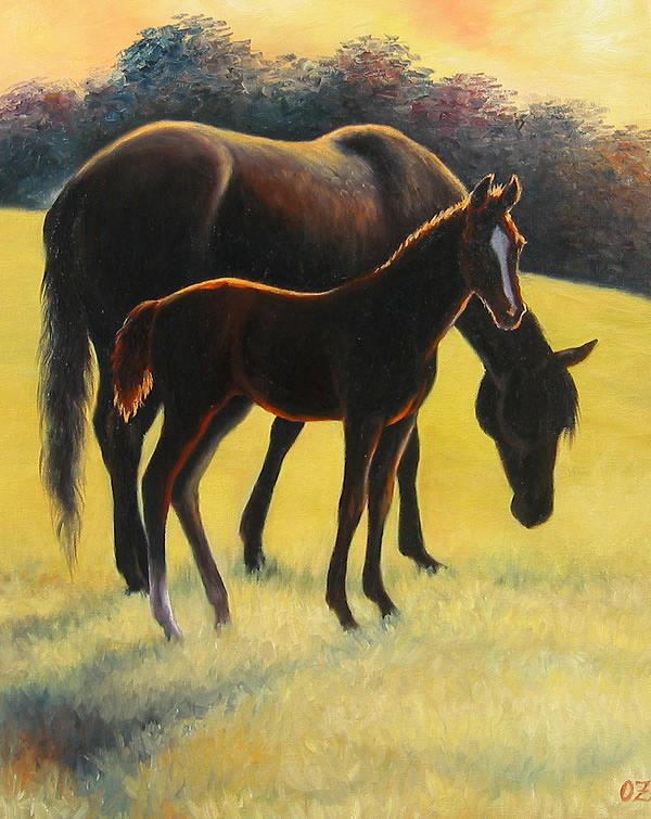 Horses Painting - Sunset by Oksana Zotkina