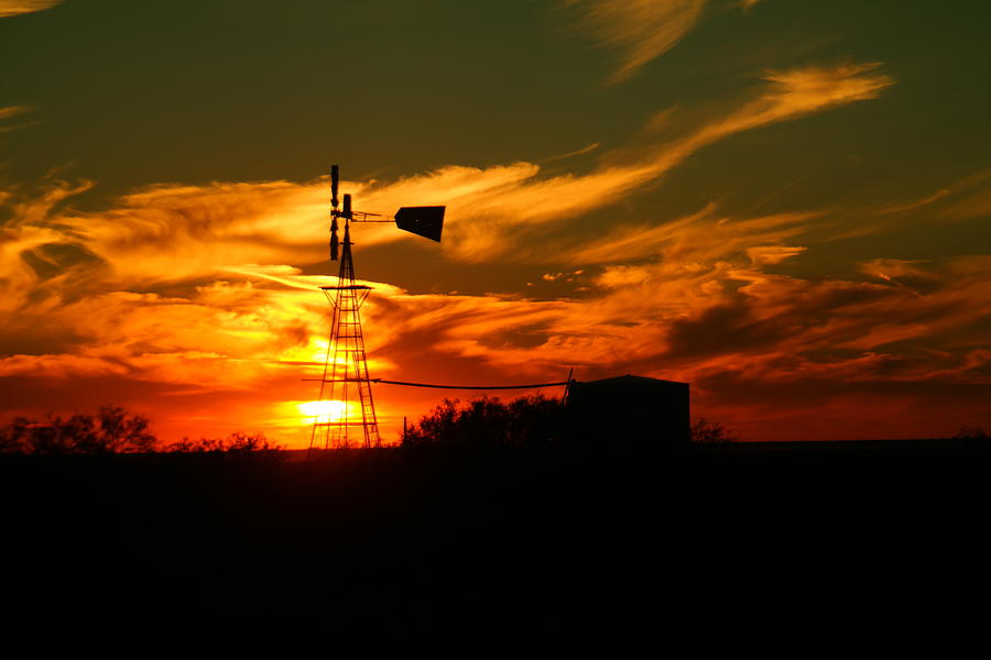 Sunset On A Windmill Jal New Mexico Photograph