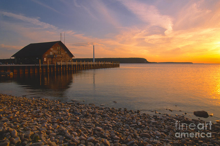 Waterscapes Photograph - Sunset On Andersons Dock - Door County by Sandra Bronstein