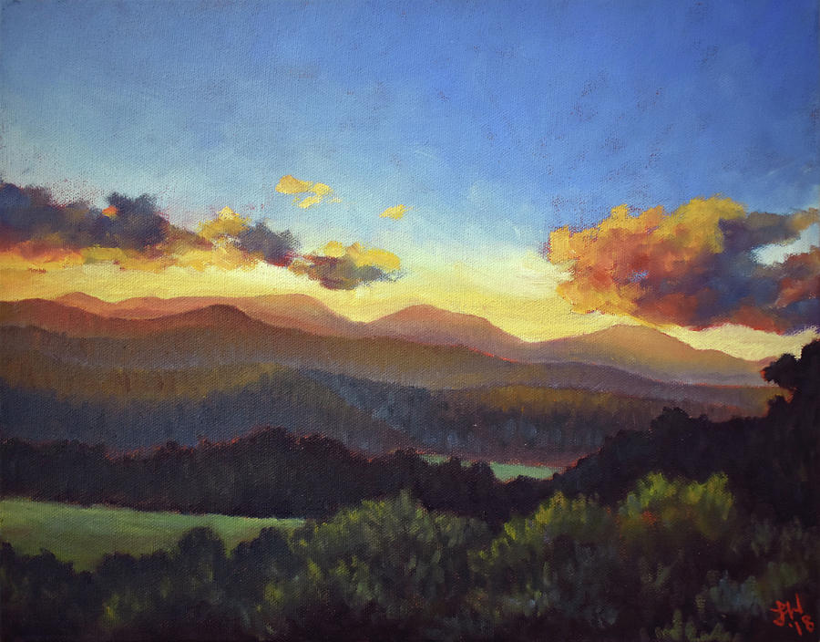 Mountains Painting - Sunset on Ashe County by Lauren Waterworth