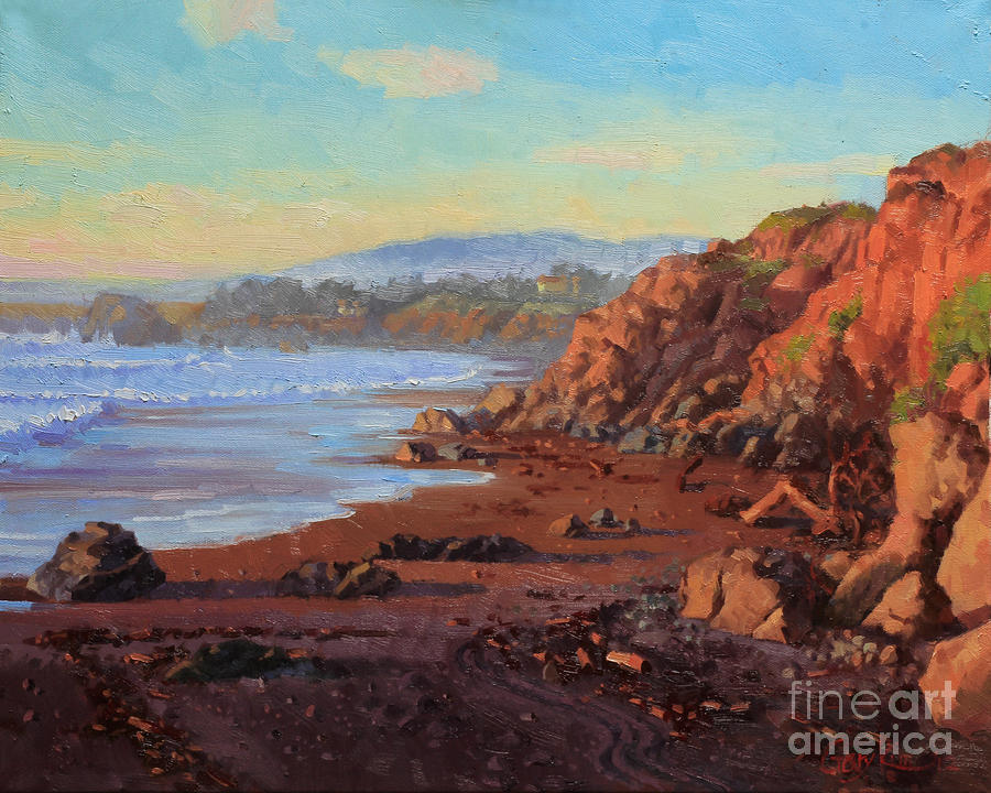 Ocean Painting - Sunset On Cambria Ca by Gary Kim
