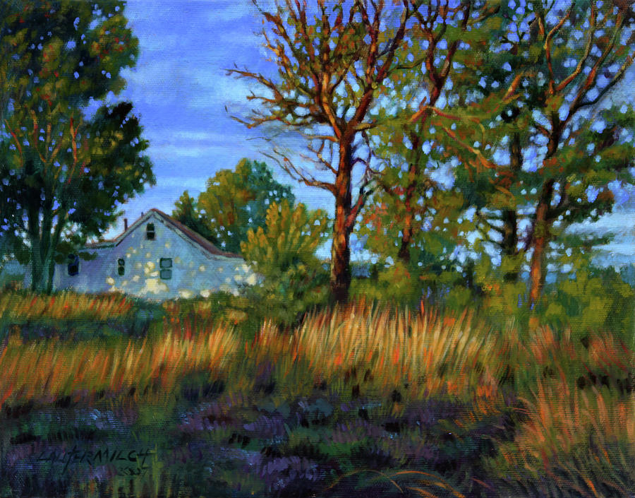 Country Home Painting - Sunset On Country Home by John Lautermilch