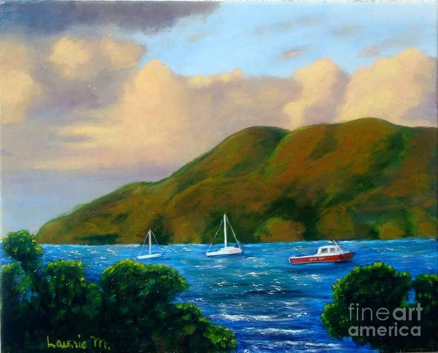 Sunset Painting - Sunset On Cruz Bay by Laurie Morgan