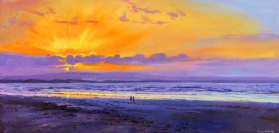 Sunset On Enniscrone Beach County Sligo Painting