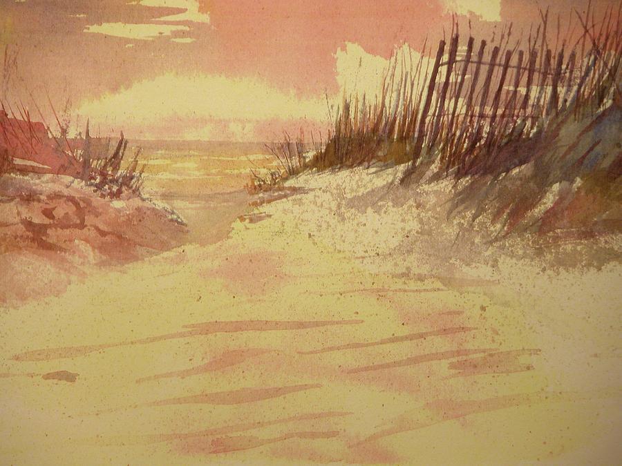Beach Painting - Sunset On  Florida Beach by Walt Maes