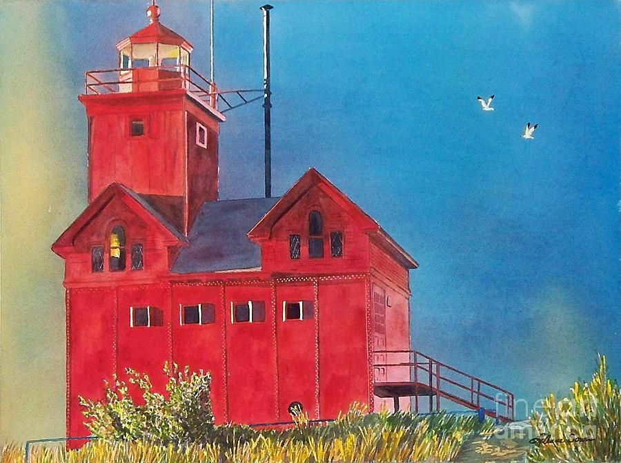 Lakes Painting - Sunset On Holland Light by LeAnne Sowa