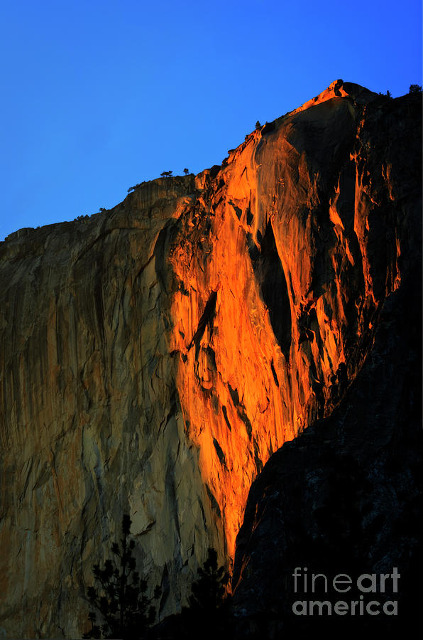 Horsetail Fall Photograph - Sunset On Horsetail Fall by Jim And Emily Bush