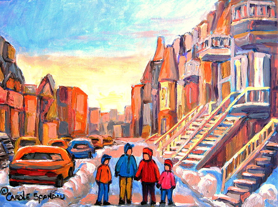 Montreal Painting - Sunset On Hotel De Ville Street Montreal by Carole Spandau