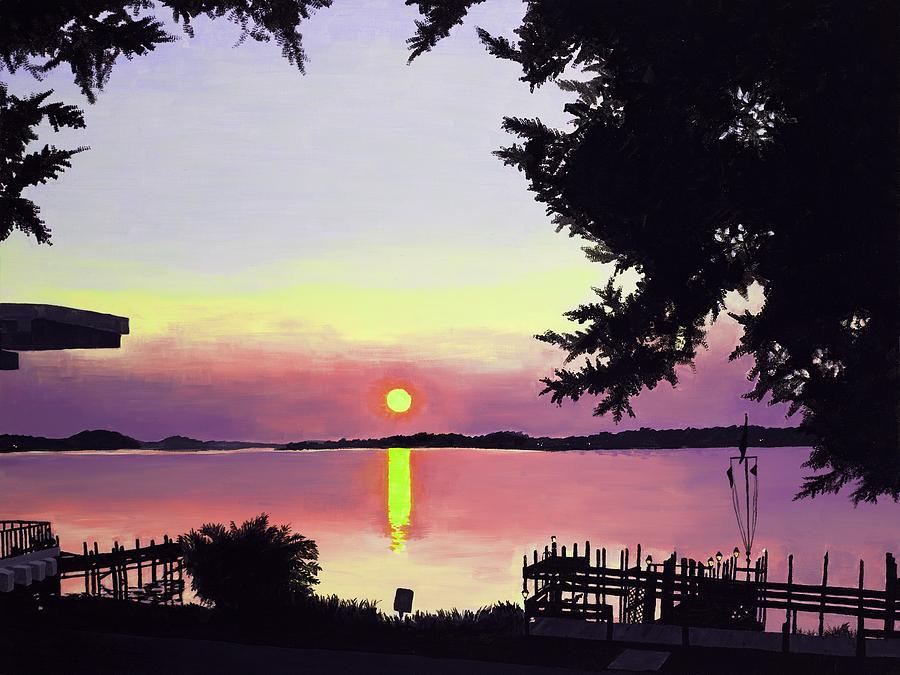 Sunset On Lake Painting - Sunset on Lake Dora by Judy Swerlick