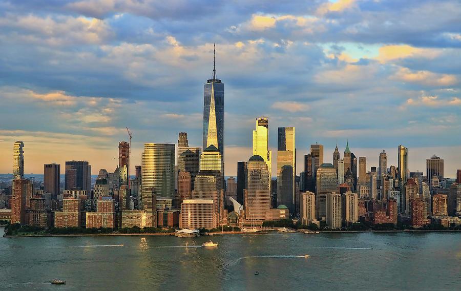Freedom Tower Photograph - Sunset On Lower Manhattan by Allen Beatty