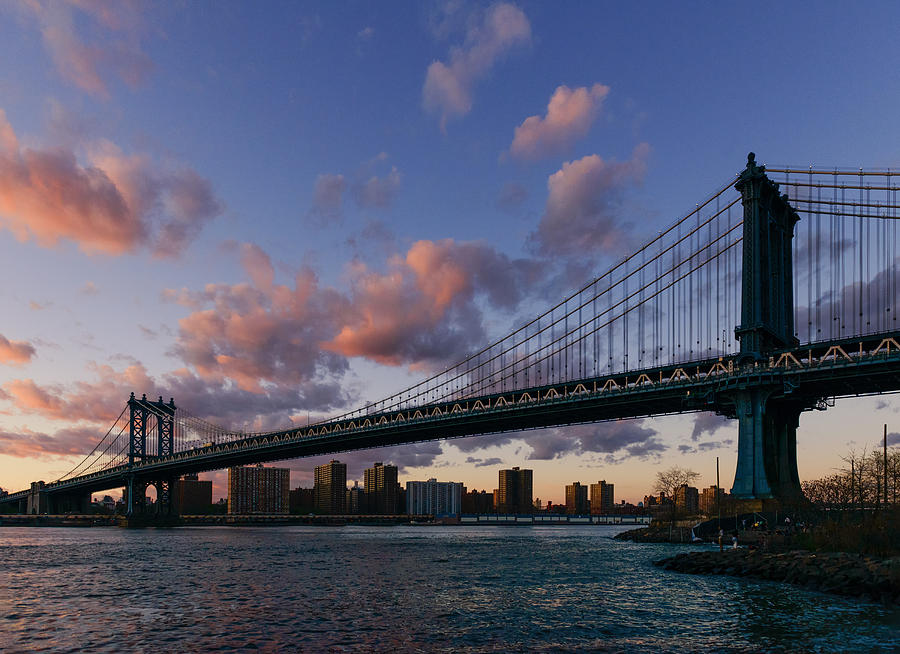 Nyc Photograph - Sunset On Manhattan Bridge by Dick Wood