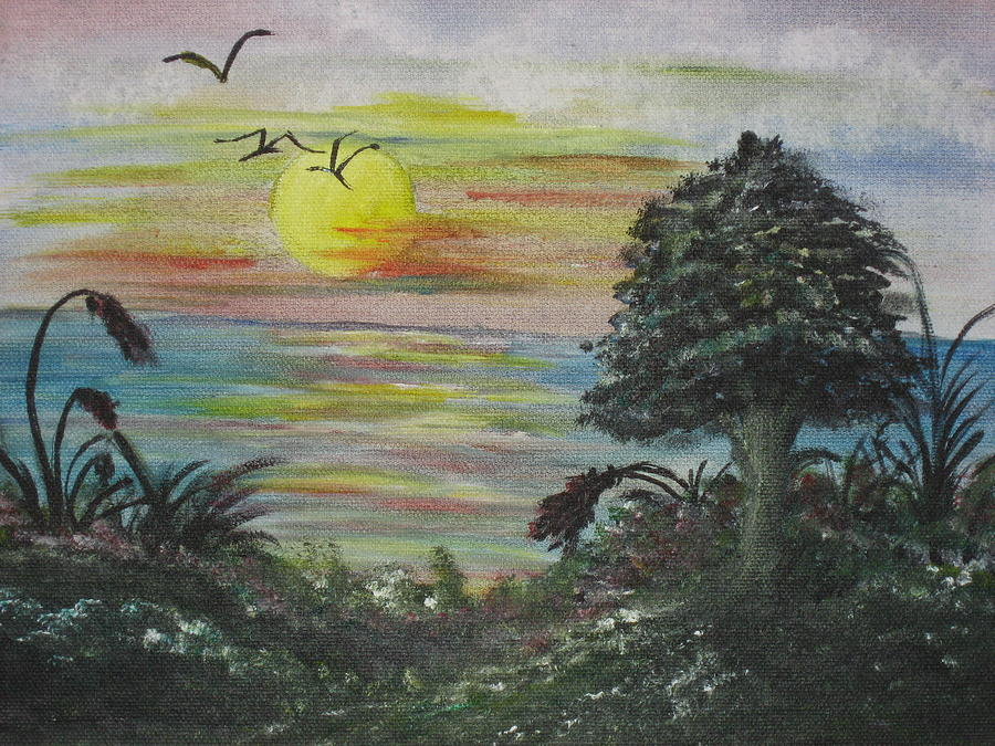 Sunset On Ocean Painting by Alokananda Ghosh