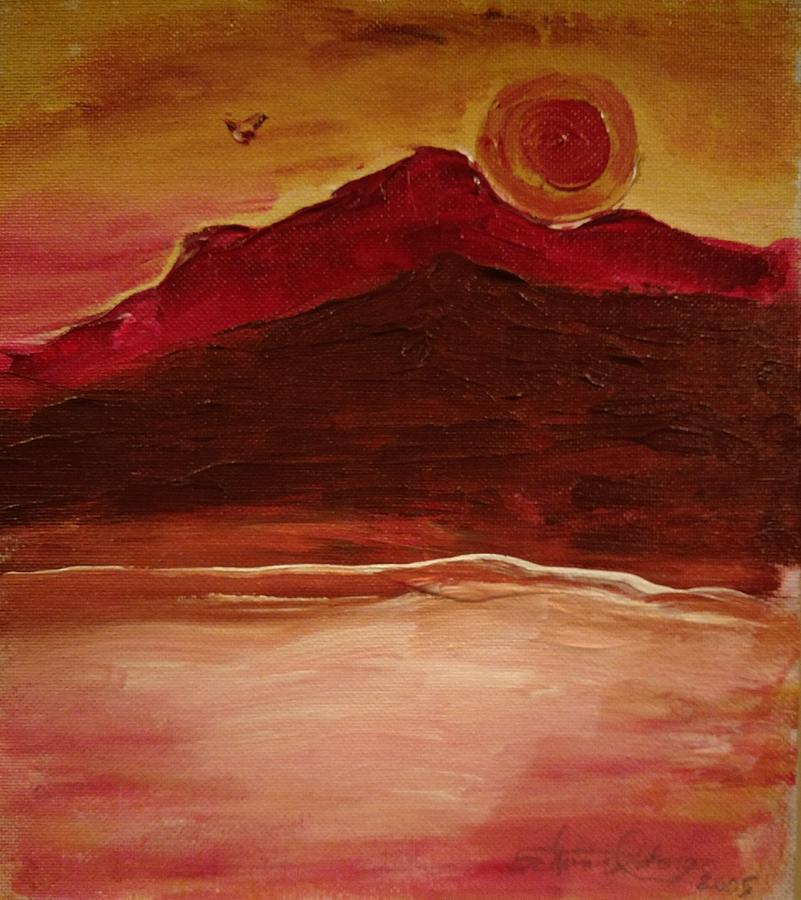 Evening Sunset Painting - Sunset On Red Mountain by Edward Longo